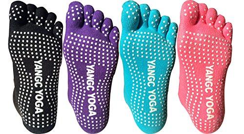 Lantee Non Slip Pilates/Yoga Socks (Pack of 4)